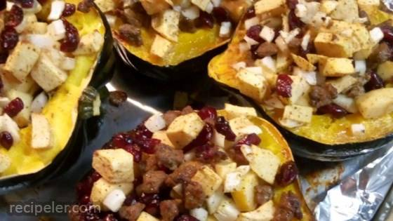 Apple and Sausage Stuffed Acorn Squash