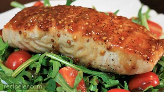 Apricot Mustard-Glazed Salmon with Arugula