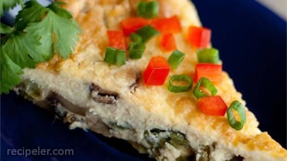 Asparagus Mushroom Bacon Crustless Quiche