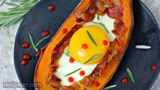 Bacon Egg Stuffed Sweet Potato