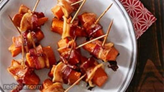 Bacon Wrapped Sweet Potato Bites