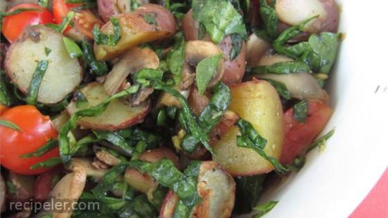 Baked Mushrooms and Potatoes with Spinach