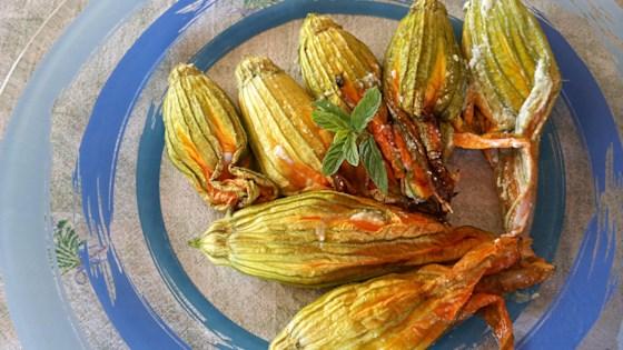 Baked Talian Pumpkin Blossoms Stuffed With Ricotta (fiori Di Zucca Ripieni Di Ricotta)