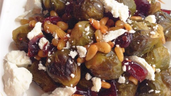 balsamic brussels sprouts with feta cheese and walnuts