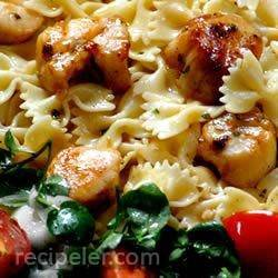 basil pan-seared scallops over pasta