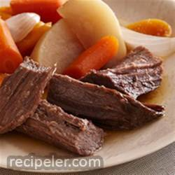 Beer-Braised Bison Brisket with Root Vegetables