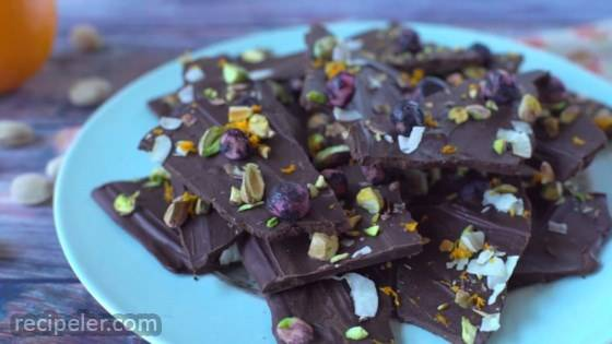 Blueberry, Coconut, and Pistachio Chocolate Bark