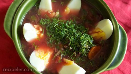 Botwinka (Polish Vegetable Soup with Beet Greens)