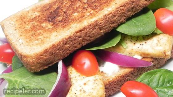 Broiled, Marinated Tofu Sandwich