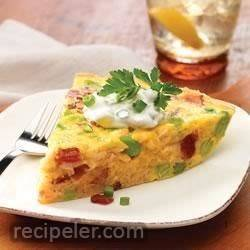 Brown Rice Frittata with Bacon and Edamame