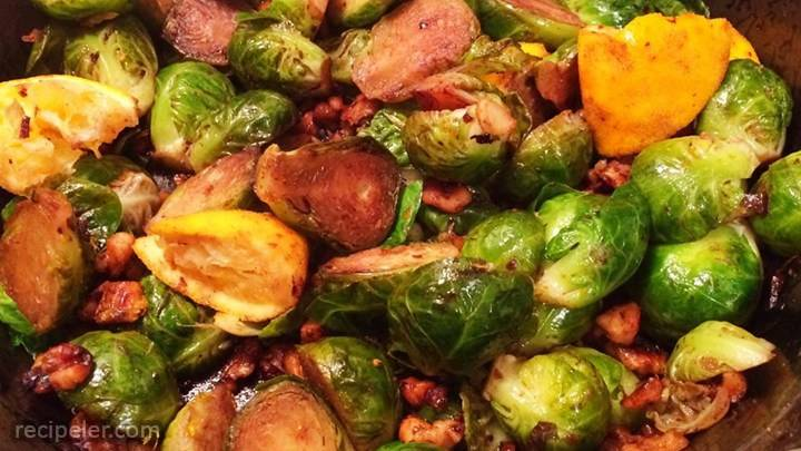 browned brussels sprouts with orange and walnuts