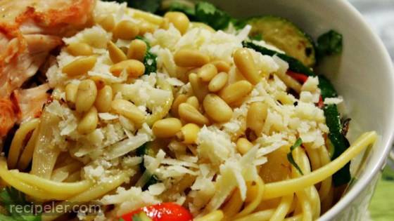 Browned Butter and Mizithra Cheese Pasta with Chicken, Spinach and Herbs