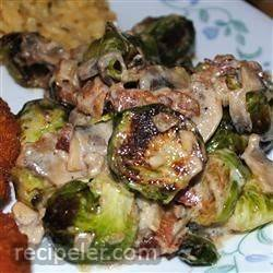 brussels sprouts in a sherry bacon cream sauce