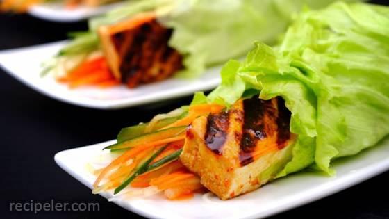 Bulgogi-Spiced Tofu Wraps with Kimchi Slaw
