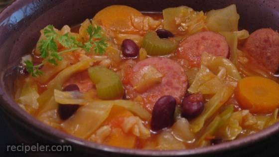 Cabbage and Smoked Sausage Soup