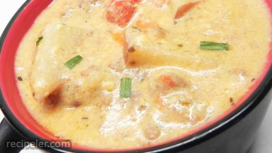 Cheeseburger Chowder with Sausage