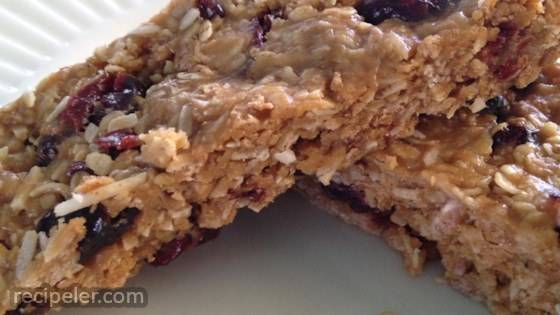 Chewy Peanut Butter Cranberry Bars