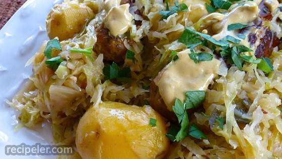 Chicken Apple Sausage with Cabbage