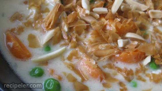 Chicken Pot Pie Soup with Toasted Almonds