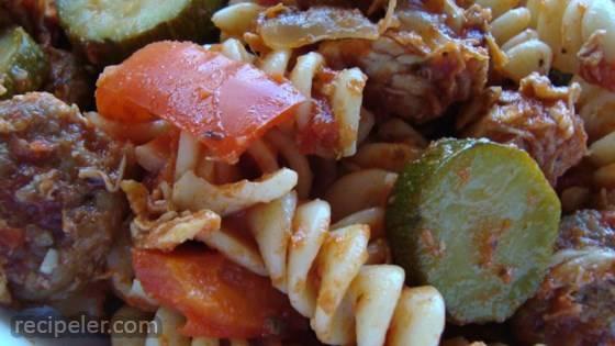 Chicken, Sausage and Zucchini Pasta