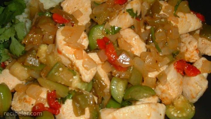 chicken with tomatillos and poblanos