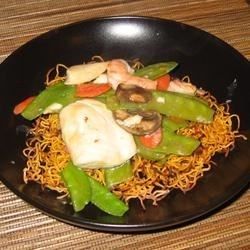 chinese noodle pancakes with asparagus