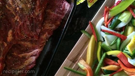 Churrasco (Stewed Skirt Steak) with Peppers and Onions