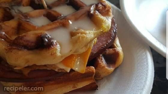 Cinnamon Roll Waffle Breakfast Sandwich