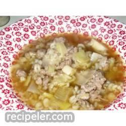 Coriander, Barley, Leek Soup