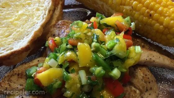Coriander Chicken with Mango Salsa