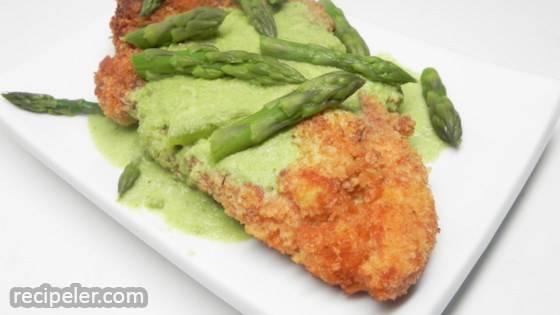 Creamy Asparagus Sauce with Chicken Schnitzel