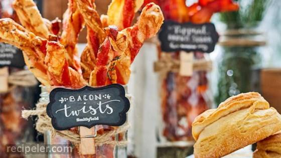 Crispy Bacon Twists with Gouda and Apricot Preserves