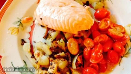 Crispy-Skin Salmon on Potato Mushroom Salad