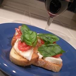 crostini with mozzarella and tomato
