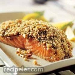 Crunchy Walnut Crusted Salmon Filets