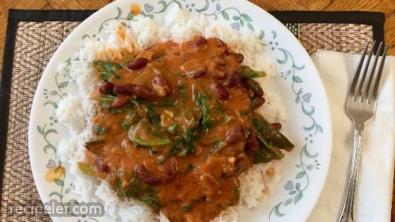 Curried Mustard Greens with Kidney Beans