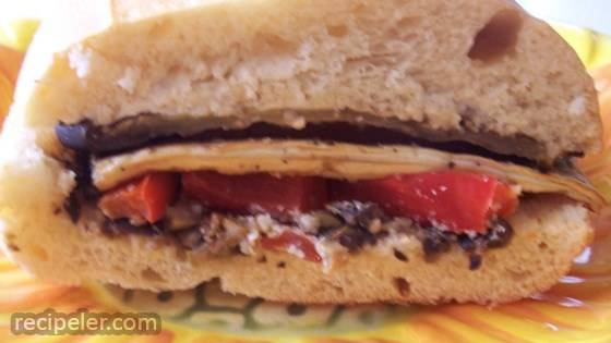 Eggplant and Pepper Parmesan Sandwiches