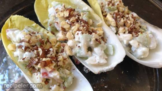 Endive Boats with Apple, Blue Cheese, and Hazelnuts