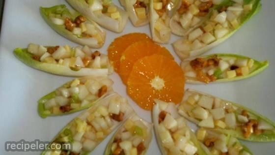 Endive Pear Salad Bites With Maple Vinaigrette