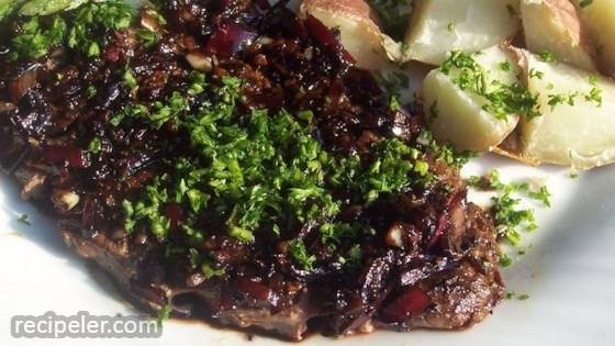 Flat ron Steak with Balsamic Reduction