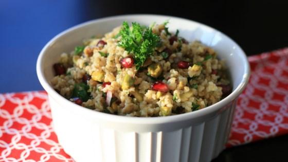 freekeh salad with tahini dressing