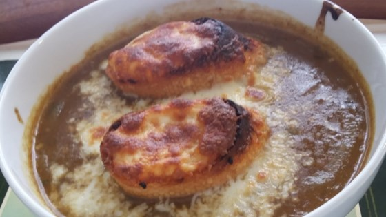 french onion soup with homemade beef stock