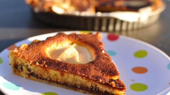 french puff pastry tart with pears and chocolate