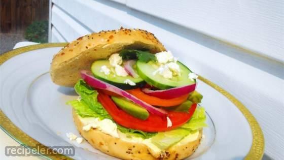 Fresh Veggie Bagel Sandwich