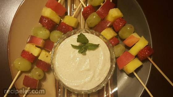 Fruit Skewers with Apple Cinnamon Dipping Sauce