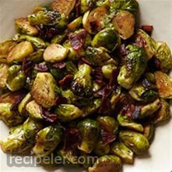 Glazed Brussels Sprouts with Bison Bacon