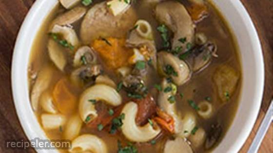 Gluten Free Elbows with Mixed Mushrooms and talian Sausage Soup