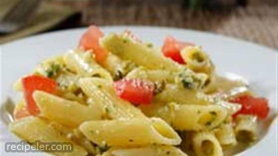 Gluten Free Penne with Pistachio Pesto and Heirloom Tomato Salad