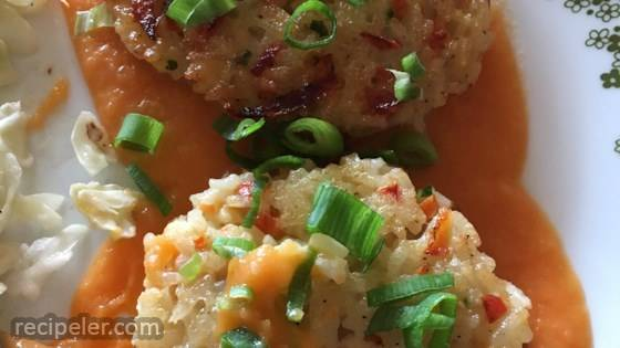 Golden Rice Cakes with Sweet Potato-Ginger Sauce