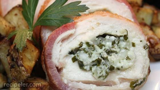 Gorgonzola Stuffed Chicken Breasts Wrapped in Bacon
